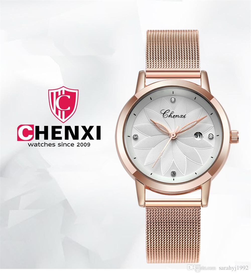 CHENXI New Women's Watch Rose Gold Network Watches Dawn Brand Waterproof Quartz Watches 303L stainless steel