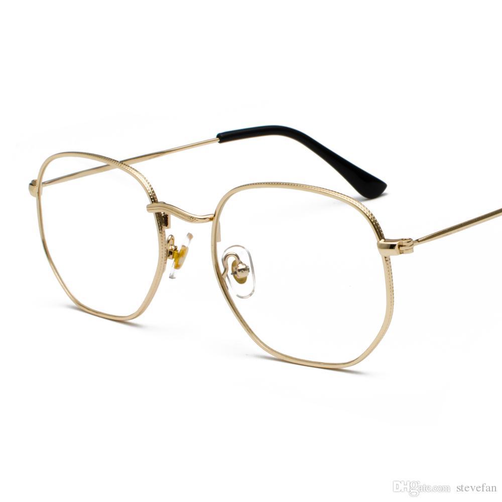 Compre Gafas De Marco De Metal Dorado Marco Cuadrado Masculino 2019 Lentes  De Vidrio Transparente Marcos De Gafas Para Mujeres Cara Pequeña Plata Negro  A ... e9caa514ee