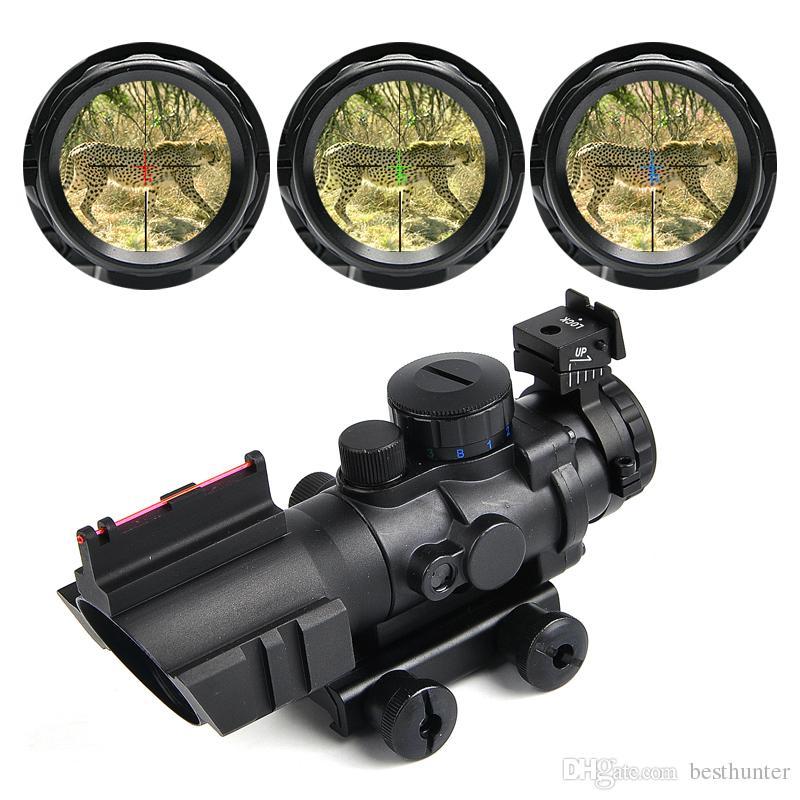 사냥 범위 4X32 전술 광학 소총 RedGreenBlue 승 / 삼중 조명 레티클 섬유 소총 범위 저격 총기총