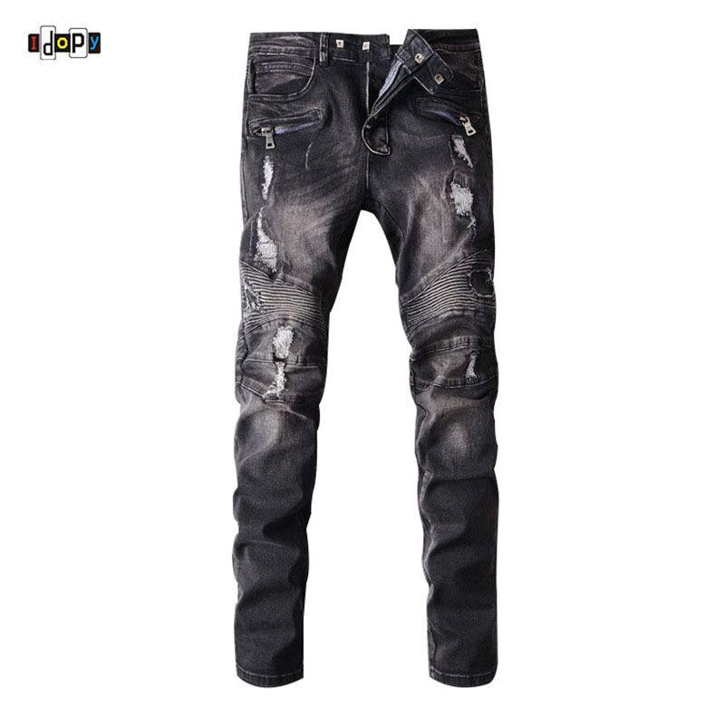 000dddf0 Compre Idopy Men`s Biker Jeans Ripped Black Diseñador Agujero Piedra Lavada  Slim Fit Straight Motocicleta Denim Joggers Pantalones Para Hombre A $47.58  Del ...