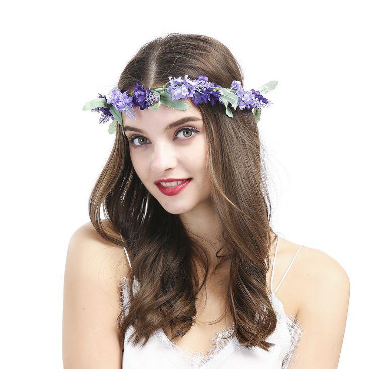 Lavender Gurple Flower Garland Wreath Hairband Hair Band Headband Hair Hoop  Great For Wedding Holidays Travel Parties With Adjustable Ribbon Barbie  Doll ... 164e584d346