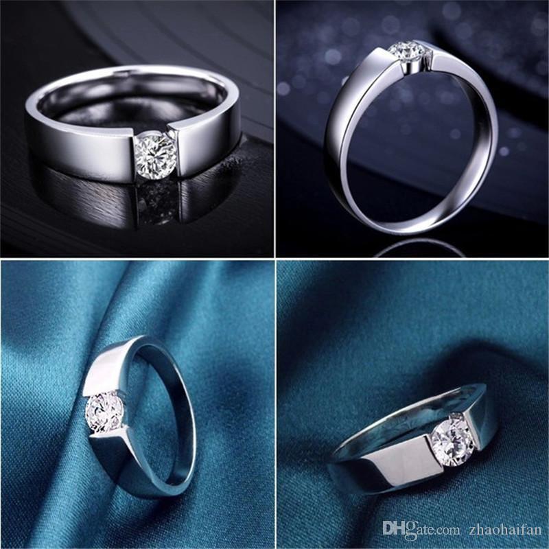 ZHF Bijoux 100% 925 Sterling Argent Anneau Sona CZ Diamant Bagues de Fiançailles Pour Hommes et Femmes De Mariage Bijoux Anneau
