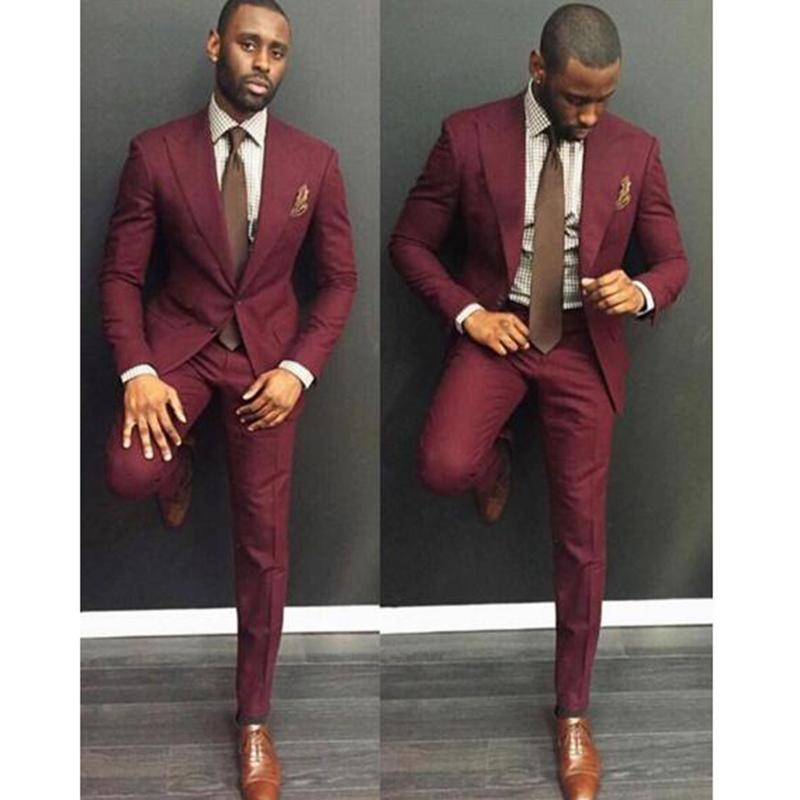 Classic Style wine red Men Suit Slim Fit 2 Pieces burgundy Groom Tuxedos Groomsman Wear mens Wedding Prom Dress Suits For Men