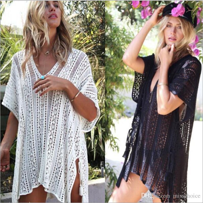 3968dd6119c 2019 2018 Bikini Beach Cover Up Vestido Swimsuit Knitted Wear Swimwear White  Lace Women Beachwear Sexy Beach White Sexy See Through Summer Dress From ...