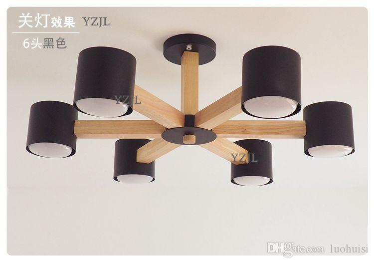 Nordic Solid wood chandelier lamp modern minimalist living room creative Japanese lamp chandelier bedroom iron lighting