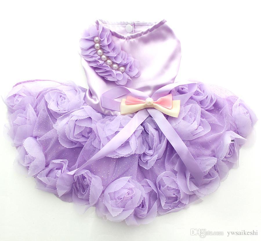 Petit Chien Chat Princesse Robe chemise RosetteBow design chiot robes Jupe printemps / été Vêtements Outfit Vêtements 2 couleurs 6 tailles