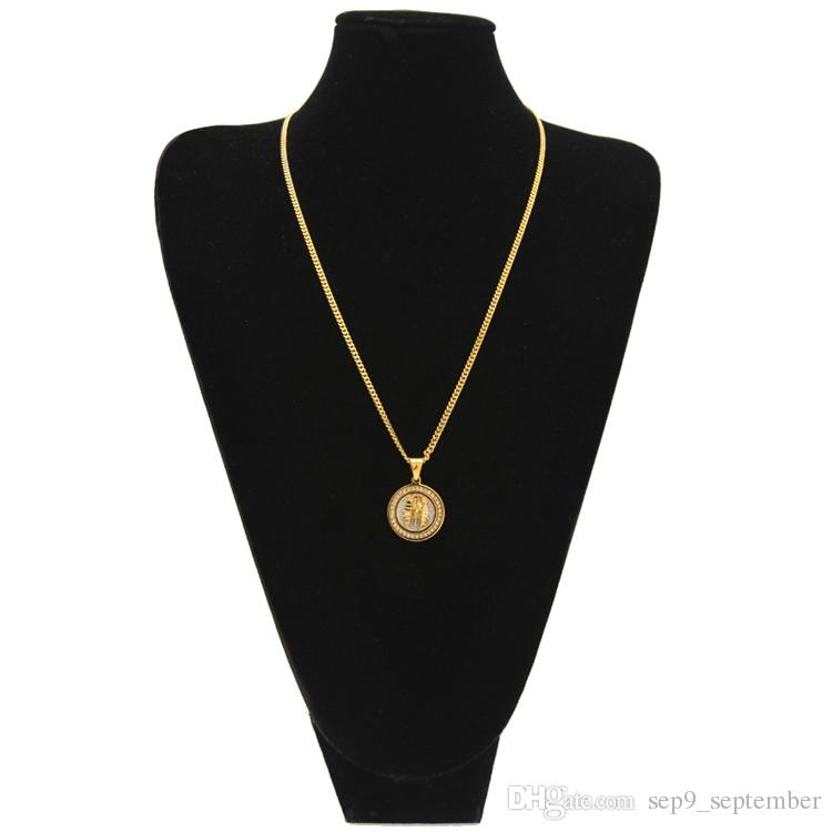 Hip Hop Jewelry Iced Out Egyptian Pharaoh Pendant Necklace for Men Gold Chain Rhinestone Pendant Necklace