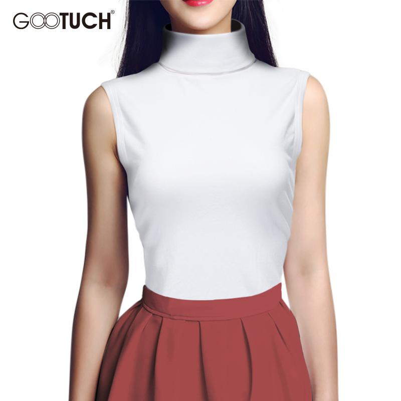 bf3e3d7a4b22b Women Summer Sleeveless T Shirt Mock Neck Top Turtleneck Sleeveless Shirt  Slim Club Knitted Vest Female Plus Size T Shirts 2560 Y1891306 A Tee Shirt  And T ...