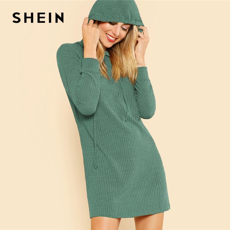 a6b5be567ab Wholesale Green Solid Rib Knit Hoodie Dress Casual Long Sleeve Stretchy Sweater  Dresses Women Autumn Minimalist Straight Short Dress Lady Dress Evening ...