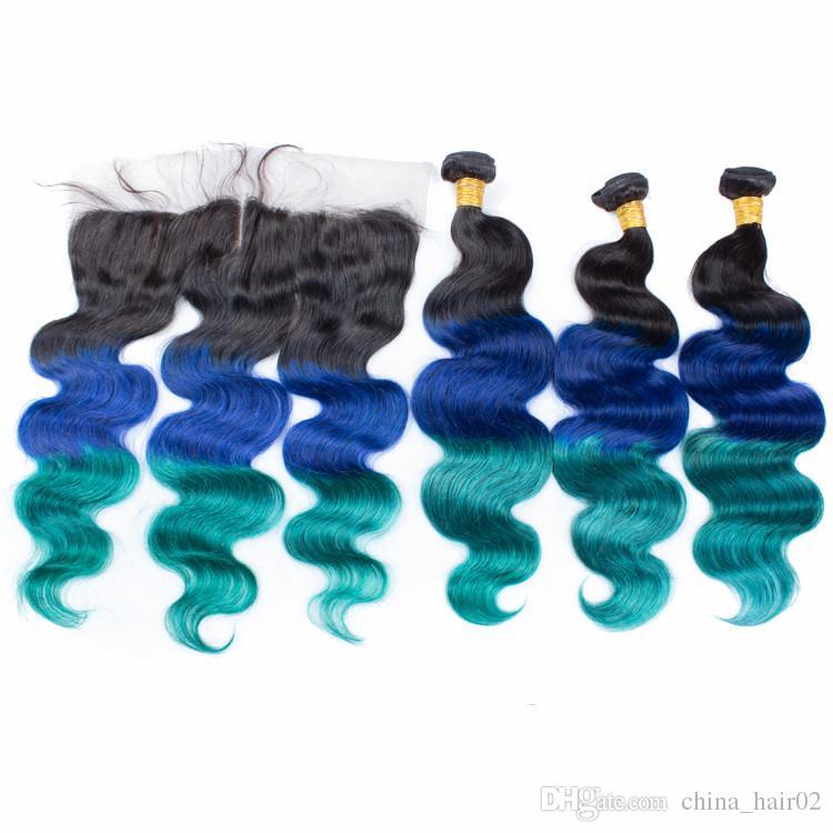 # 1B / Mavi / Yeşil Ombre Bakire Brezilyalı İnsan Saç Demetleri ile 13x4 Tam Dantel Frontal Kapatma Üç Ton Renkli İnsan Saç Örgüleri