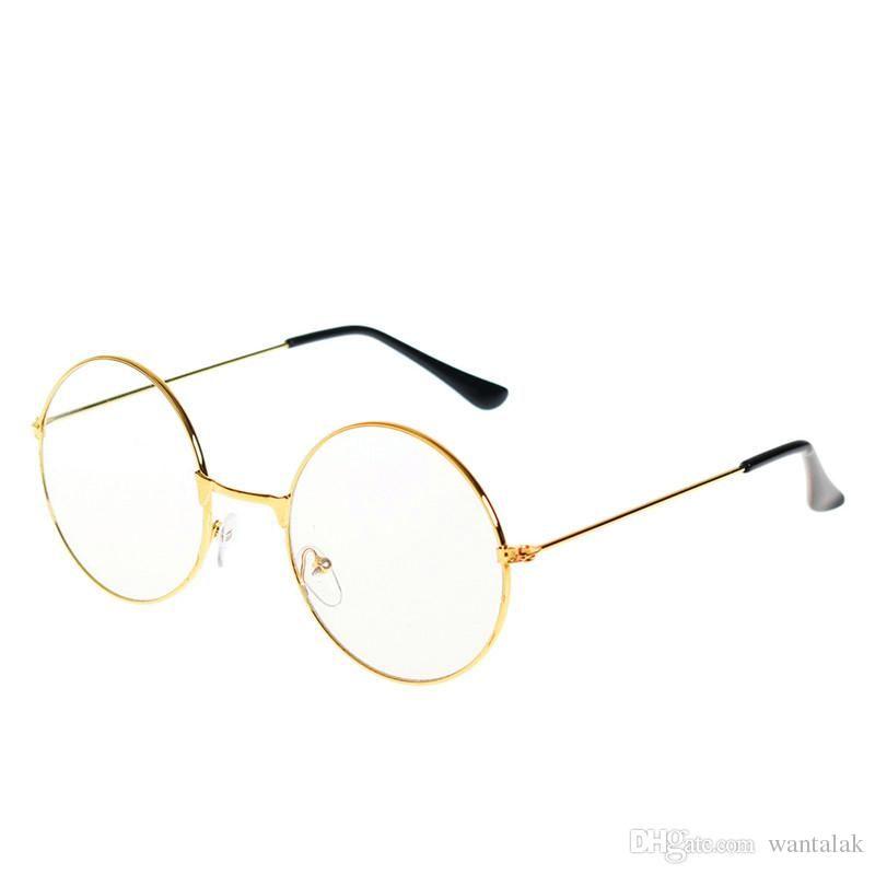 6eb167dc2a Fashion Trendy Style Women Men Popular Round Metal Clear Lens Glasses Frame  Trendy Unisex Nerd Anti Radiation Spectacles Eyeglass Frame Frames  Eyeglasses ...