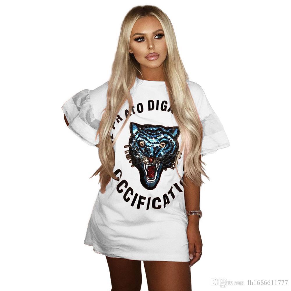 2018 Women T Shirt Dress Fashion Casual Mini Dress Long Tops Sequined Tiger  Head Letters Print O Neck Short Sleeve Loose Dresses Vestidos Nice Dresses  Bride ... fc8b0868f905