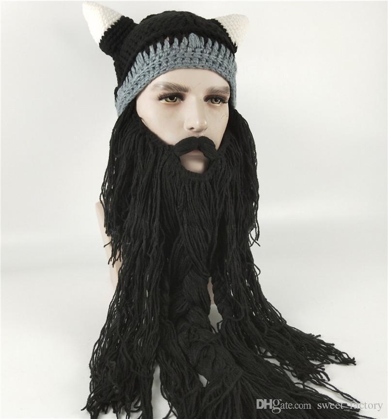 21fe15d213d 2019 Halloween Funny Men S Winter Hat Barbarian Vagabond Viking Beard Hat  Horn Handmade Mustache Braid Beanie Warm Wool Knitting Caps Mask From ...
