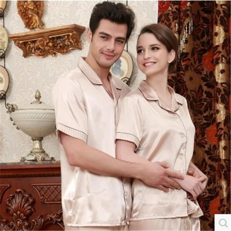 New Women Silk Pajamas Luxurious Short sleeve Love Sleepwear Mens Satin Pyjamas Women's Lounge Couple Pajama Sets Plus Size 3XL
