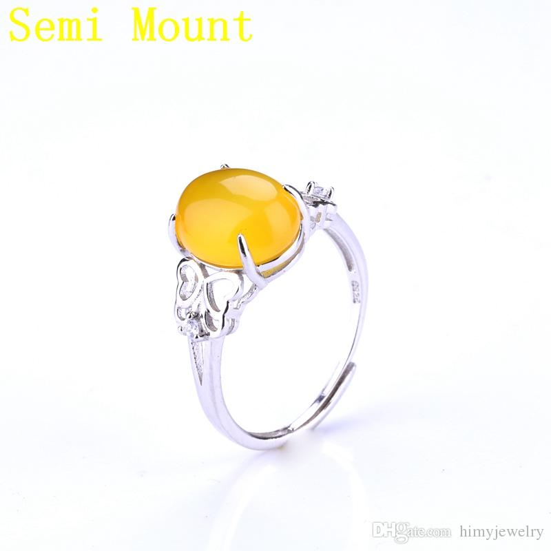 Fine Silver 925 Sterling Silver Semi Mount Women Ring for 11x12mm Oval Cabochon Amber Apal Setting White Gold Color DIY Stone Crystal Trendy