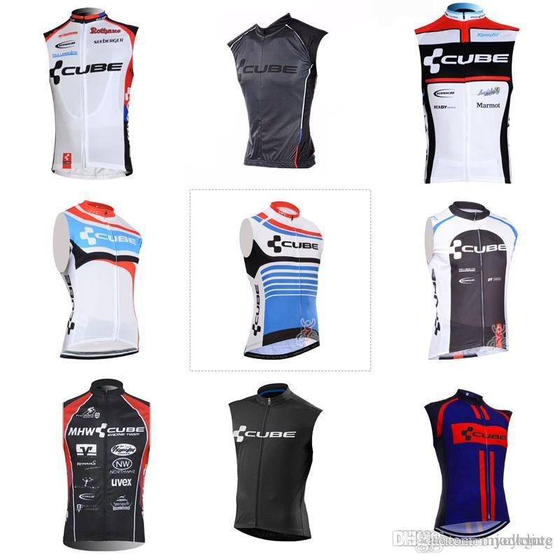 2018 hot sales CUBE team Cycling Sleeveless jersey Vest High Perfomance Cycling Tops wear size:xs-4xl c2011