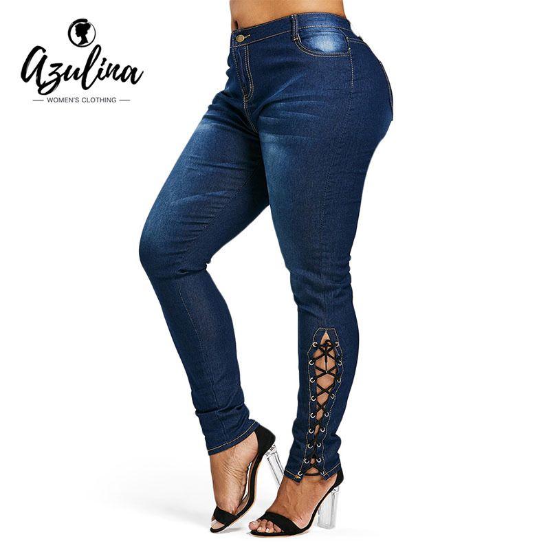 2019 AZULINA Plus Size Zipper Fly Side Lace Up Jeans Skinny High Waist  Pockets Denim Pant Women Jeans Pencil Pants Trousers Big Size S18101601  From Jinmei01 ... 0178e68da7e8