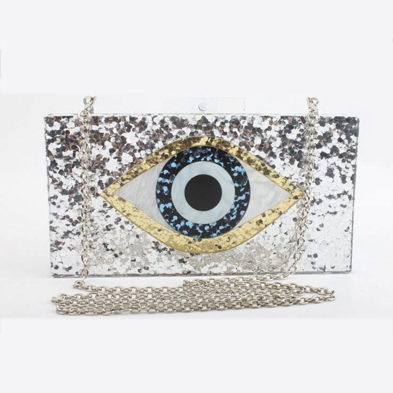 2018 neue Handtasche Marke Mode Frauen Messenger Bags Geometrische Mosaik Brieftasche Acryl Abendtasche Pailletten Augen Casual Umhängetasche