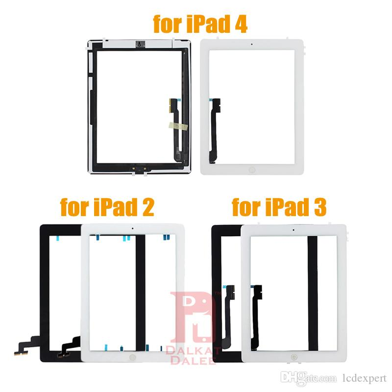 Para iPad 2 Adhesive 3 4 Tela Touch Panel Vidro digitalizador substituição Reparação Peças de montagem Com Home Button Sticker para iPad2 3 4