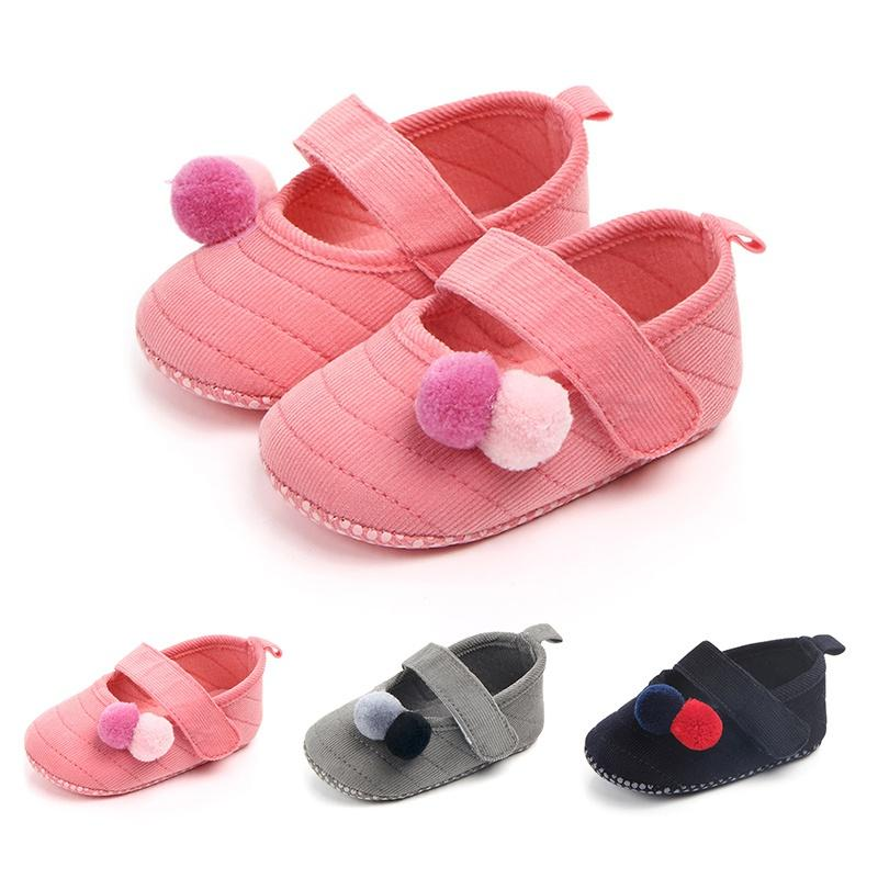 b6b2444acca48 Lovely Hair ball baby girl shoes suede leather first walker moccasins  Newborn mary jane crib shoes soft sole dance