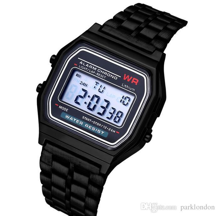 28c3fbebef4 Hot relógios inteligentes A159W relógios Mens clássico aço inoxidável Digital  Retro Watch Vintage ouro e prata Digital alarme A159W Sports relógios
