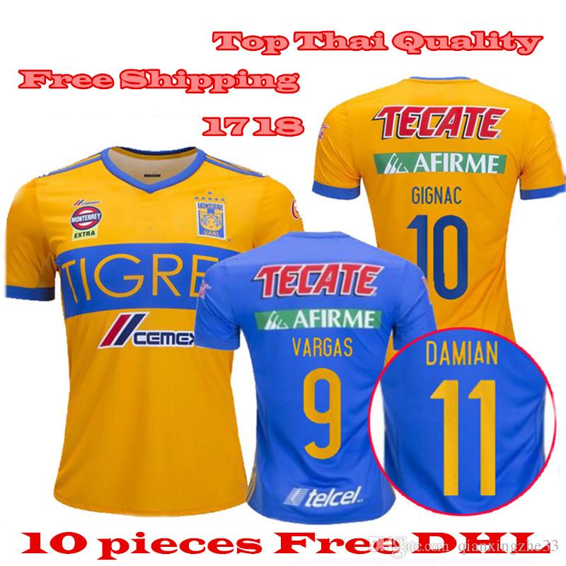 5a2f45943e8 2019 2017 NEW Tigres UANL Soccer Jersey Thai Quality 17 18 Mexico Club  Camiseta De Fútbol Home Yellow Away 6 Star GIGNAC Football Shirt From  Qianxingzhe33