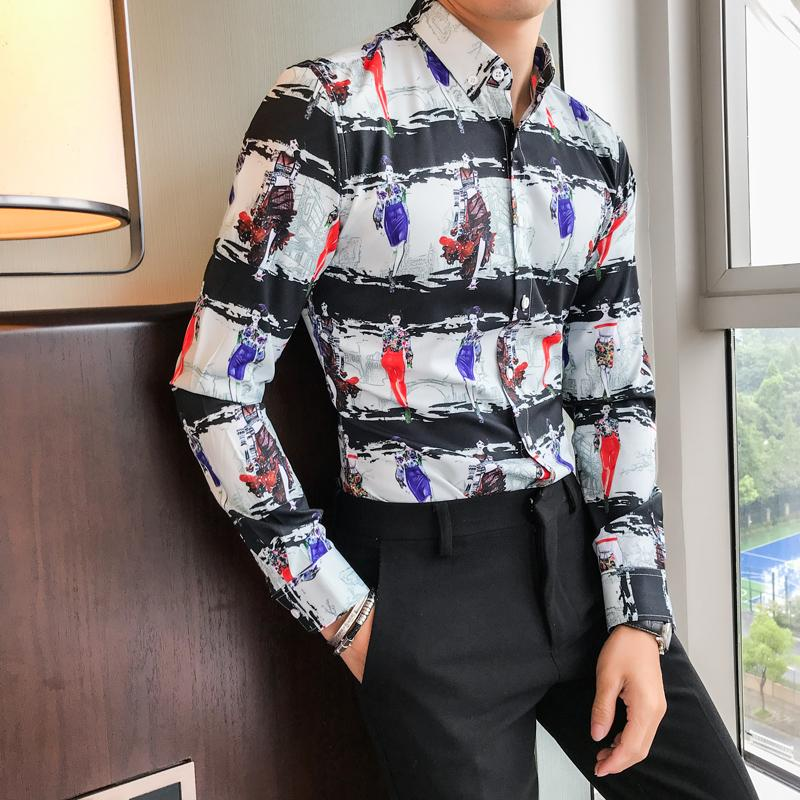 High Quality British Style Men Shirt Pretty Girl Print Slim Fit Tuxedo Slim Fit Long Sleeve Casual Dress Shirts Men Clothes 2018