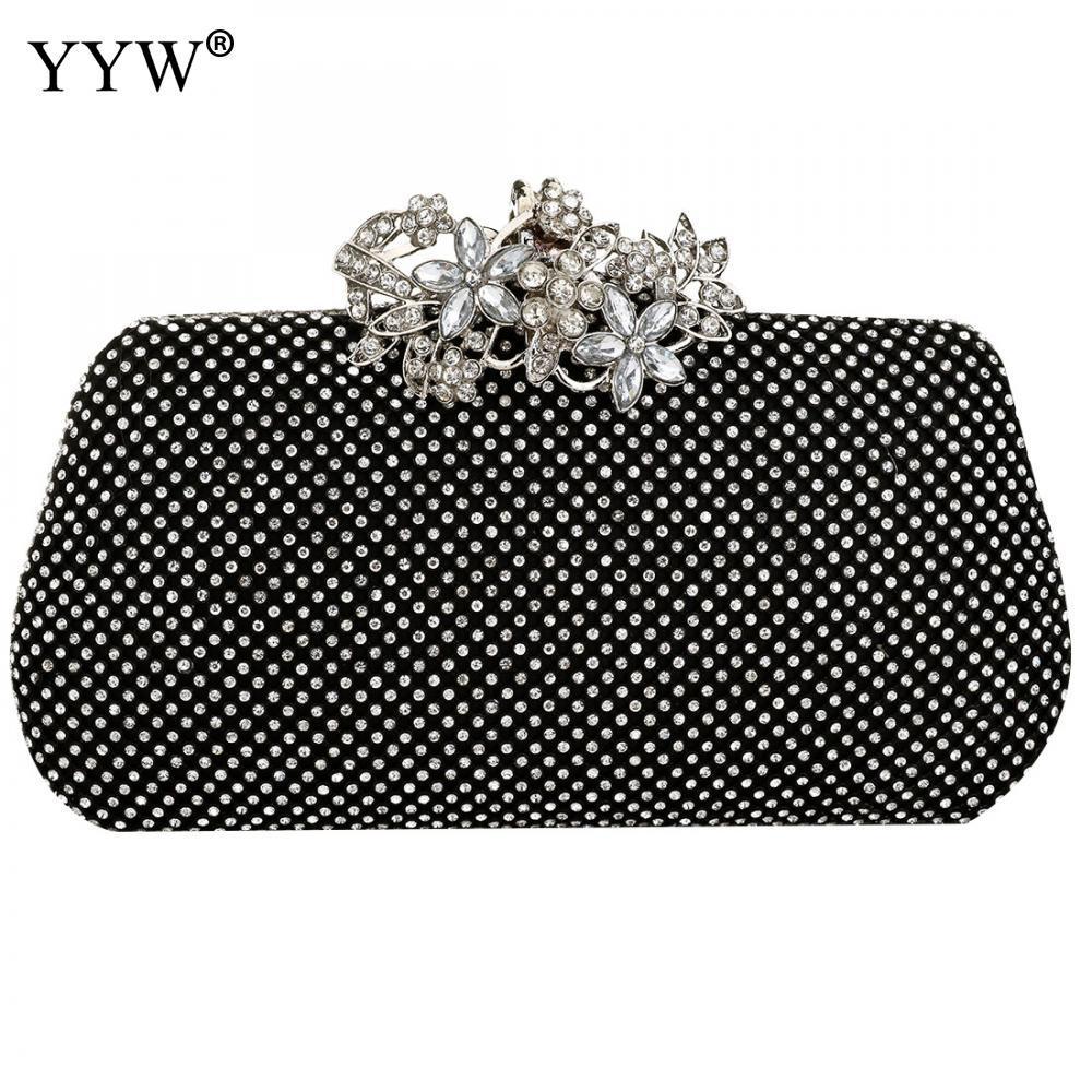 7a28b1d13 Compre Bolso De Embrague De Noche Para Mujer Diamante De Diamantes De  Imitación Embrague Cristal Día Cartera Bolso De Boda Banquete De Fiesta  Negro Oro ...