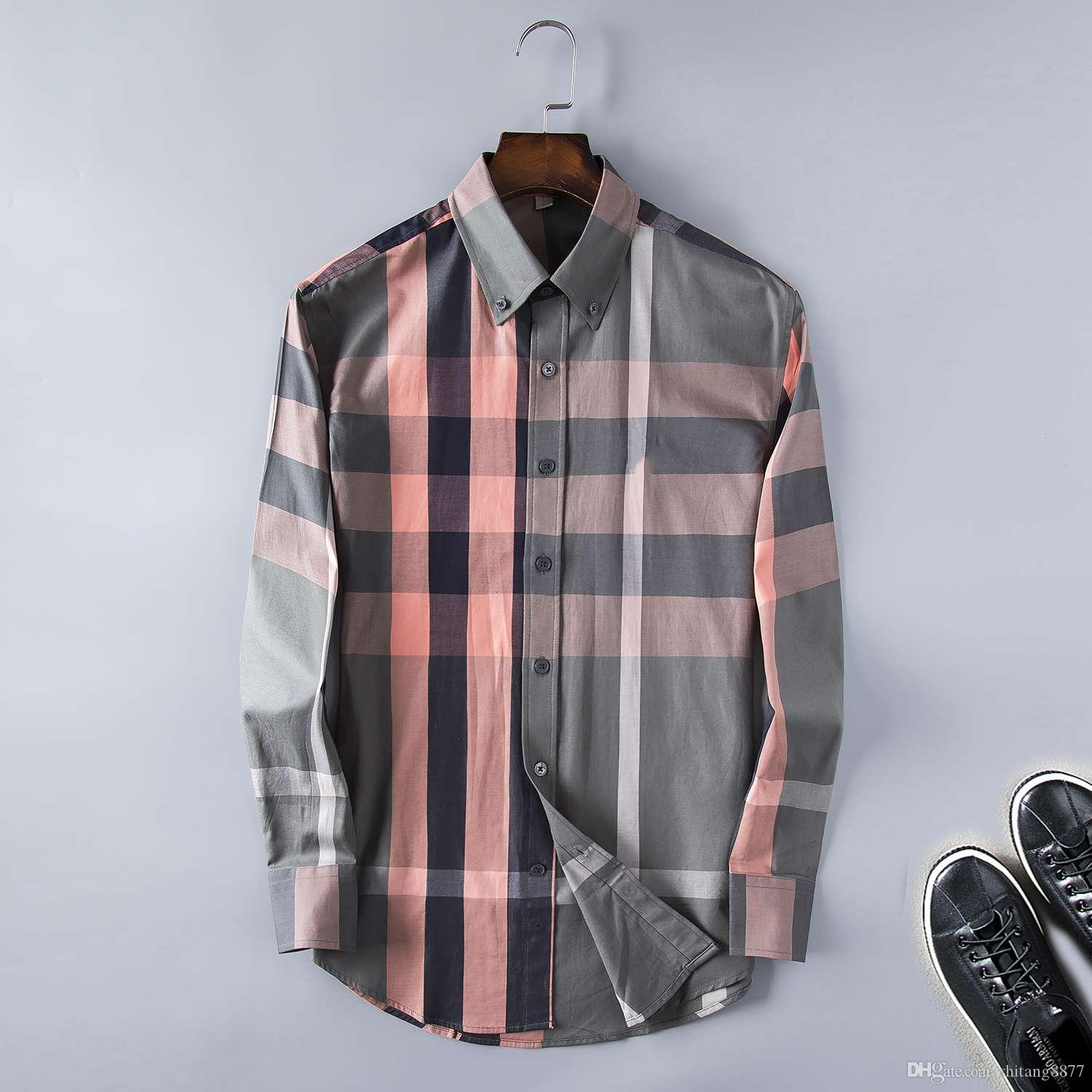 Brand Mens Business Casual Shirt Mens Long Sleeve Striped Slim Fit