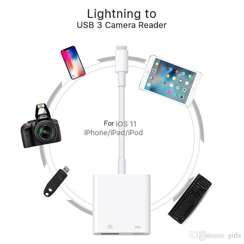 Lightning to USB 3 Camera Reader Adapter Cable For iPhone 5S 6 7 8 Plus iPhoneX iPad iOS11 Data Sync Charger Cable Professional Connector
