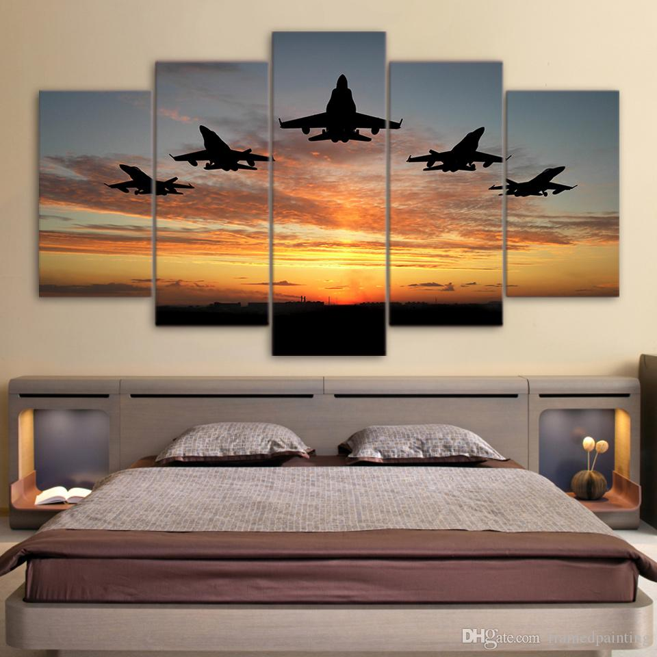 HD Printed 5 Piece Canvas Art Airplanes Fly Sunset Canvas Print Wall Pictures for Living Room Home Decor Free Shipping