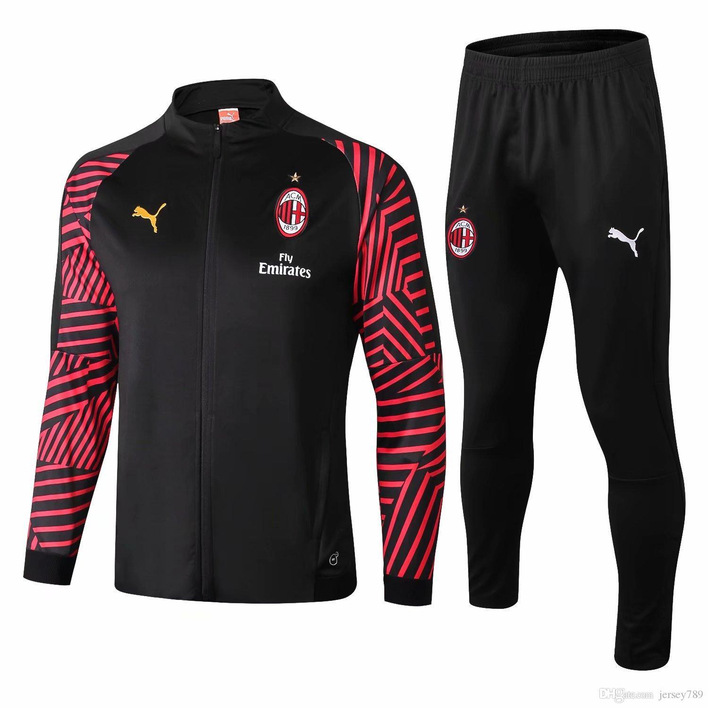 AC Milan 18 19 Soccer Tracksuit 2018 2019 Football Training Suit ... f42fc503f0da6