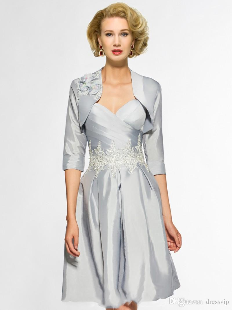 Elegant Mother Of The Bride Dresses With Little Jacket Half Long Sleeve Sweetheart Applique Plus Size Mother Gowns Evening Wear