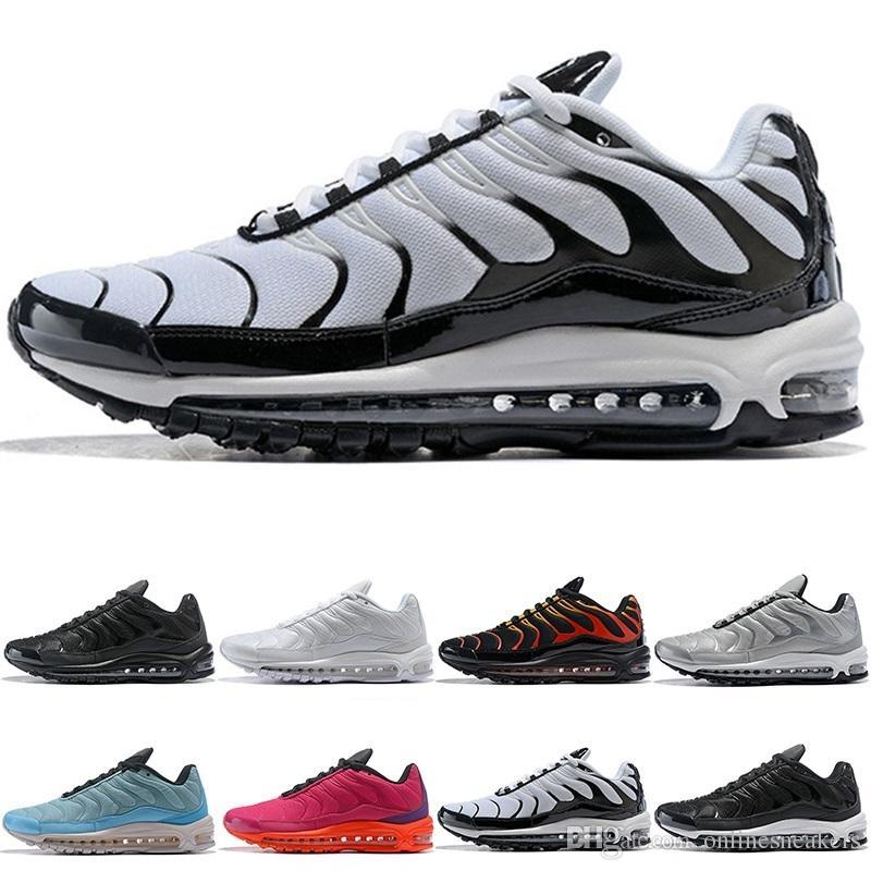 51b5123feb55 2019 97 Plus Running Shoes Men Women Triple White Black Silver Gold Bullet  Navy Blue Fire Red Mens Sports Sneaker Size 5 12 Wholesale Online From ...