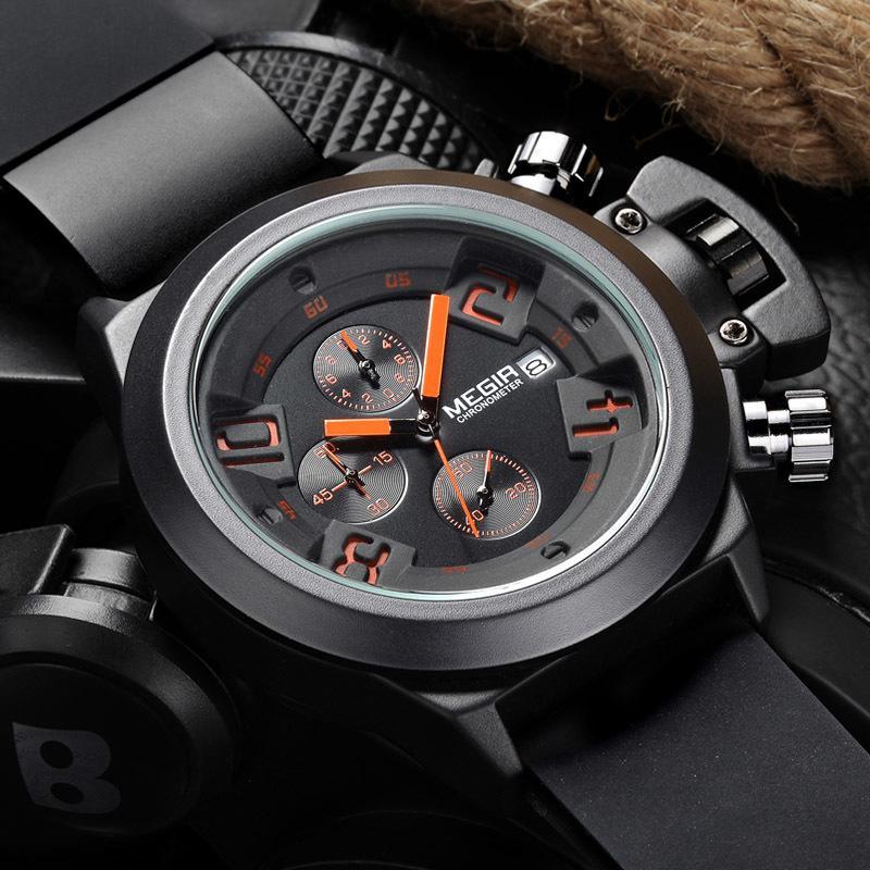 Compre Diseño Único Top Marca De Lujo Megir Relojes Para Hombre De Estilo  Clásico Banda De Silicona Cronógrafo Deporte Militar Reloj De Cuarzo Hombres  S921 ... 817450b77835