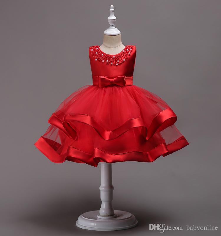 Güzel Diz Boyu Boncuklu Katmanlı Çiçek Kız Elbise Tül Yay Ile Yay Çocuk İlkbahar Cemaat Elbiseler Pageant elbise MC1490