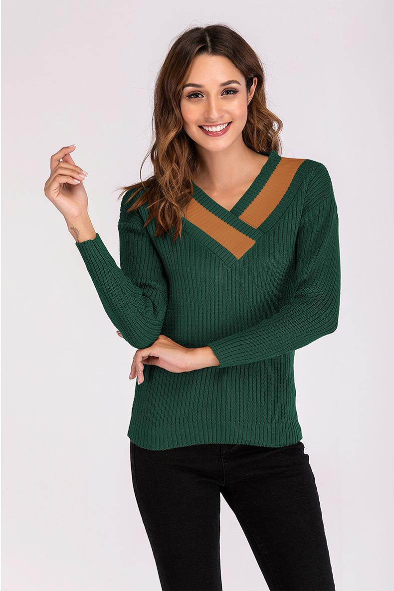 AALAMGEER 2018 Autumn Winter Women Pullover Sweater Causal V-neck Hit Color Female Christmas Knitted Sweaters Pull Femme Jumpers