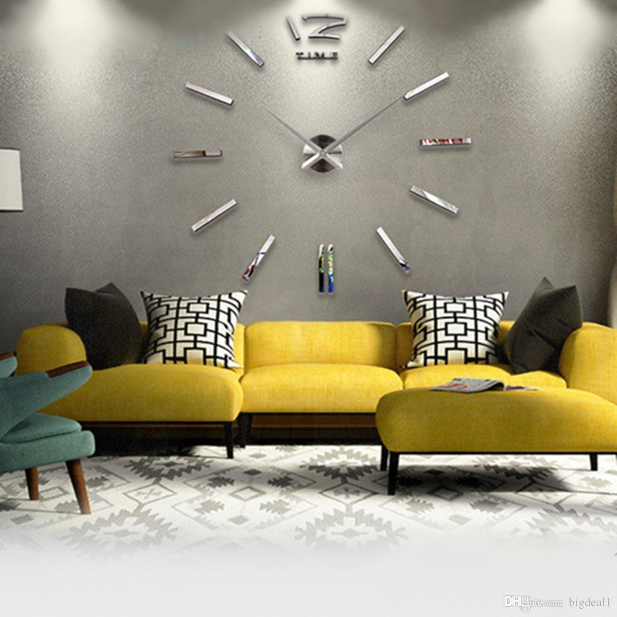 Acrylic 3d Diy Mirror Surface Wall Sticker Clock Wall Paper Murals ...