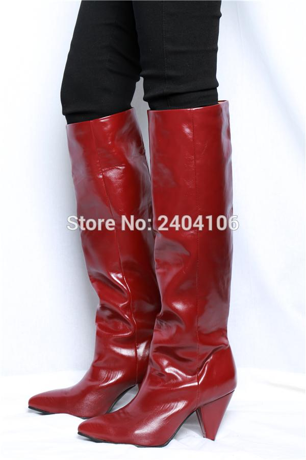 6ebd71247b4 Vintage Rome Style Claret Red Leather Autumn Winter Shoes Slip On Ladies  Long Bootie Pointed Toe Spike Cone Heel Knee High Boots Ladies Shoes Moon  Boots ...