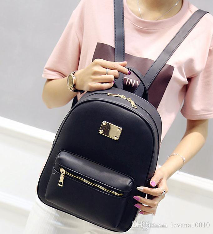 Women Backpack Small Size Black PU Leather Women S Backpacks Fashion School  Girls Bags Female Back Pack Famous Brand Mochilas 30x22x10cm Hunting  Backpacks ... c32e3ec67d3b9