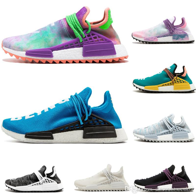 buy popular 3634a 32cbf Human Race holi Running Shoes Pharrell Williams HU Runner Yellow Black  White Red pink blue Men and Women designer shoes sneakers EUR 36-44