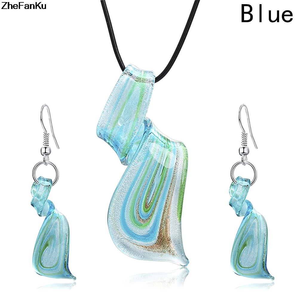 Fashion Personality Women Necklace Earrings Set Blue Glass Spiral Tornado Pendant Jewelry Set Creative Contracted Leather Bijoux