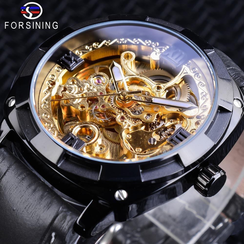 d6e2741bcda Compre Forsining Relógio De Ouro Preto Caso Transparente Banda De Couro  Genuíno Luminosa Mãos Relógios Automáticos Para Homens Relógio Do Esporte  Masculino ...