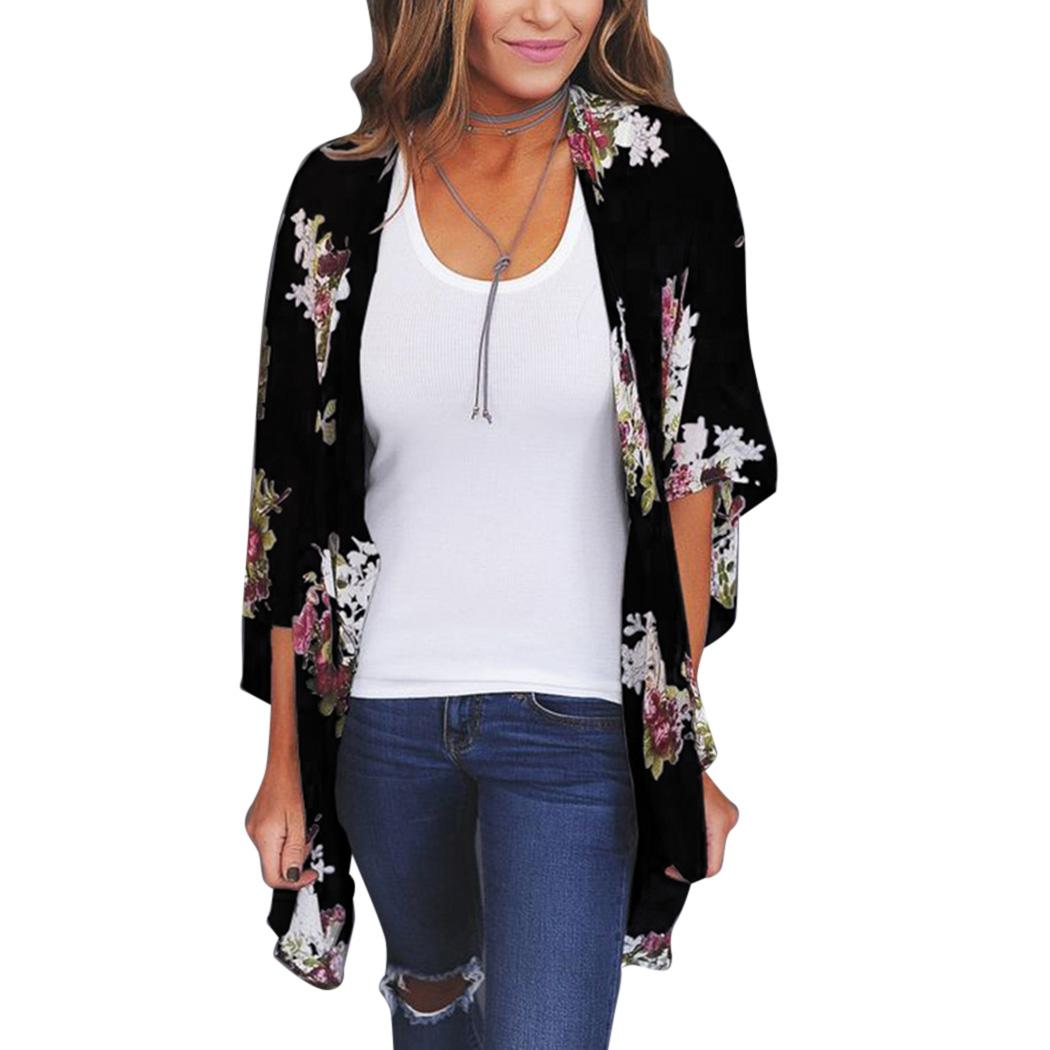 df3a2196ab7 Japanese Style Women Floral Kimono Blouse Loose Half Sleeve Chiffon Tops  Plus Size Summer Sexy Ladies Loose Cardigan Clubwear UK 2019 From  Vanilla01