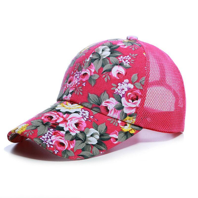 b8cc45281d83 Dropshipping patrón de flores de malla gorras de béisbol hombres mujeres  exterior Snapback hueso transpirable sombreros moda flor china Gorras
