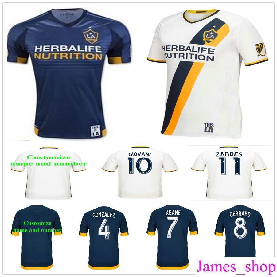 Los Angeles Galaxy Soccer Jersey 8 GERRARD 23 BECKHAM 10 GIOVANI 10 DONOVAN  7 KEANE 4 GONZALEZ ZARDES ROGER Uniforme De La Camiseta De Fútbol Por  James shop ... bc702608a1f94