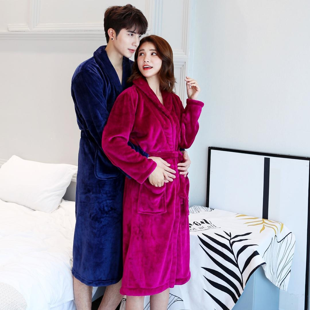2019 2018 Winter Warm Coral Fleece Couples Bathrobes Long Sleeve Bath Robe  Male Female Thicken Dressing Gown From Tutucloth edfd1b111