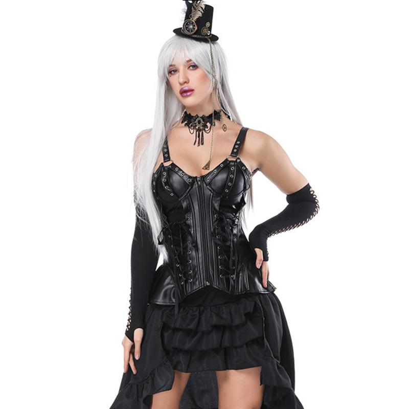 3556343fd0 2019 Black Strap Front Zipper   Lace Up Vintage Corset Bustier Dress  Steampunk Dresses Victorian Gothic Clothing Burlesque Costumes From Blairi