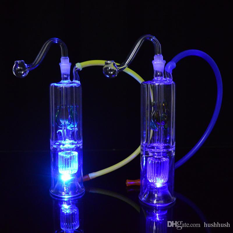 Малый Bong Dab Rig LED Light Bubbler Стеклянная нефтяная буровая установка 6