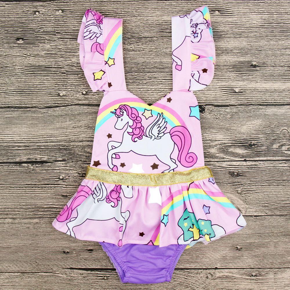 Lovely Newborn Clothes Baby Girl Unicorn Romper Rainbow Ruffles manga de dibujos animados Animal Skirted Romper Jumpsuit trajes niños princesa Sunsuit